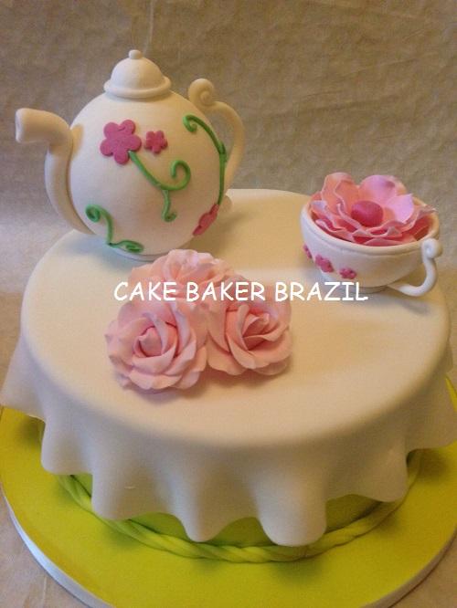 Bolo Cha de Cozinha - Verde e Rosa
